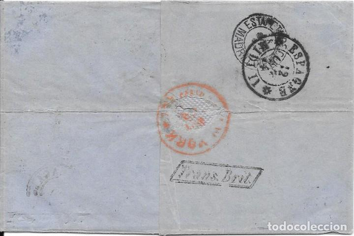 Sellos: 1874. EDIFIL Nº 148 PAREJA. ENVUELTA CIRCULADA DE MALAGA A NUEVA YORK. OCT-1874 - Foto 2 - 169821252