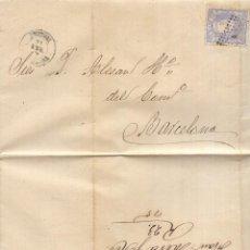 Sellos: AÑO 1870 EDIFIL 107 CARTA MATASELLOS ROMBO TORTOSA TARRAGONA MEMBRETE DE FRANCISCO MERCE Y HERMANO . Lote 169921700