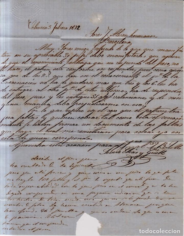 Sellos: Año 1870 edifil 107 carta matasellos rombo Valencia membrete de Severo Elias y Guell de Valencia - Foto 2 - 169985956