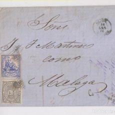Sellos: ENVUELTA DE GIJÓN, ASTURIAS, A MÁLAGA. 1874. Lote 170457996