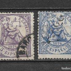 Sellos: ESPAÑA 1874 EDIFIL 144 Y 145 - 6/2. Lote 170883570