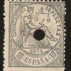 Sellos: ESPAÑA EDIFIL 152T TELÉGRAFOS 10 PESETAS NEGRO ALEGORÍA JUSTICIA 1874 NL1551. Lote 171013510