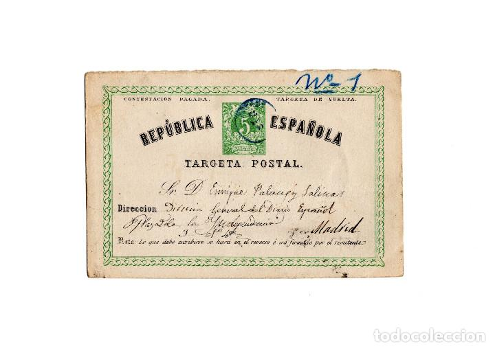 TARJETA POSTAL REPÚBLICA ESPAÑOLA 1873 (Sellos - España - Amadeo I y Primera República (1.870 a 1.874) - Cartas)