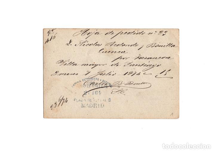 Sellos: TARJETA POSTAL REPÚBLICA ESPAÑOLA 1874, MATASELLOS TREBOL? - Foto 2 - 171133514