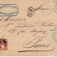Sellos: SOBRE SELLO NUM. 113 DEL MINISTERIO DE ULTRAMAR -GAB. PARTICULAR - A FRANCIA- MATASELLOS FRANCESES. Lote 171810997