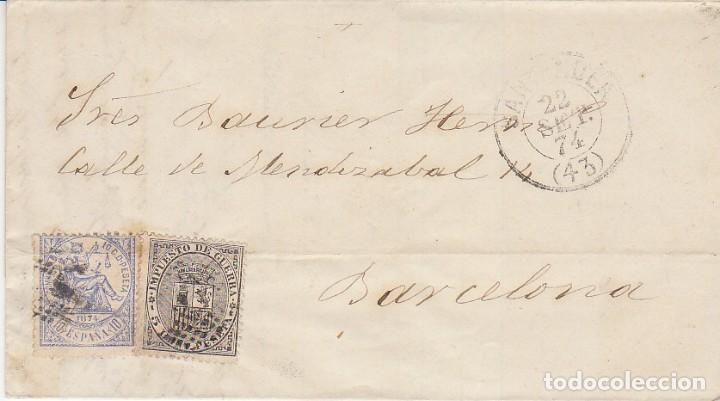 SELLOS.141 Y 144. I REPÚBLICA: SANTANDER A BARCELONA . 1874. (Sellos - España - Amadeo I y Primera República (1.870 a 1.874) - Cartas)