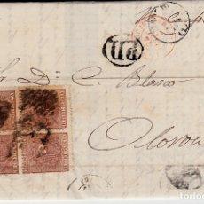 Sellos: CARTA COMPLETA 1875 CON 4 SELLOS NUM. 153 COMUNICACIONES - DESTINO FRANCIA -CANFRANC DIV MATASELLOS . Lote 172169029