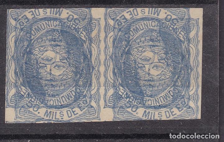 RR22- CLÁSICOS EDIFIL 107 . AZUL OSCURO. PAREJA DOBLE IMPRESIÓN. MACULATURA (*) SIN GOMA (Sellos - España - Amadeo I y Primera República (1.870 a 1.874) - Nuevos)