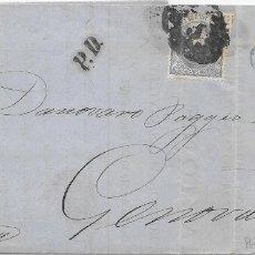 Sellos: ITALIA. MATRONA. CORREO MARITIMO. EDIFIL 107. ENVUELTA CIRCULADA DE CADIZ A GENOVA 1871. Lote 172640213