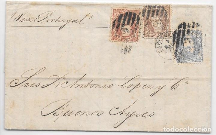 ARGENTINA. MATRONA. ENVUELTA DE BARCELONA A BUENOS AIRES. 1871 (Sellos - España - Amadeo I y Primera República (1.870 a 1.874) - Cartas)