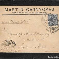 Sellos: ARGENTINA. PELON. EDIFIL 221. SOBRE DE BARCELONA A BUENOS AIRES. 1898. Lote 172648098