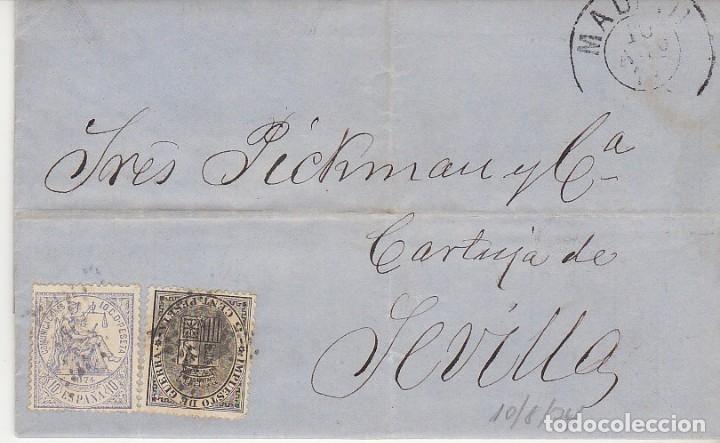 SELLOS 141 Y 145. I REPÚBLICA. MADRID A SEVILLA. 1874. (Sellos - España - Amadeo I y Primera República (1.870 a 1.874) - Cartas)