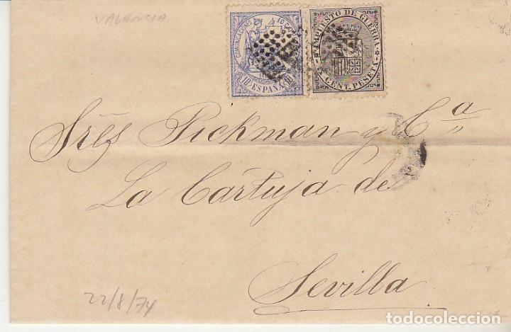 SELLOS 141 Y 145. I REPÚBLICA. VALENCIA A SEVILLA. 1874. (Sellos - España - Amadeo I y Primera República (1.870 a 1.874) - Cartas)