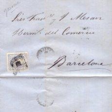Sellos: AÑO 1870 EDIFIL 107 ALEGORIA CARTA MATASELLOS ROMBO GERONA MEMBRETE DE NARCISO PEREZ. Lote 174307507