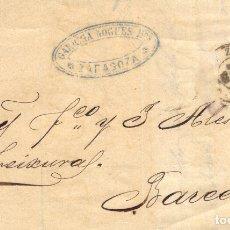 Sellos: AÑO 1870 EDIIL 107 ALEGORIA CARTA MATASELLOS REJILLA CIFRA 15 ZARAGOZA 15 MEMBRETE GARRIGA NOGUES. Lote 175144568