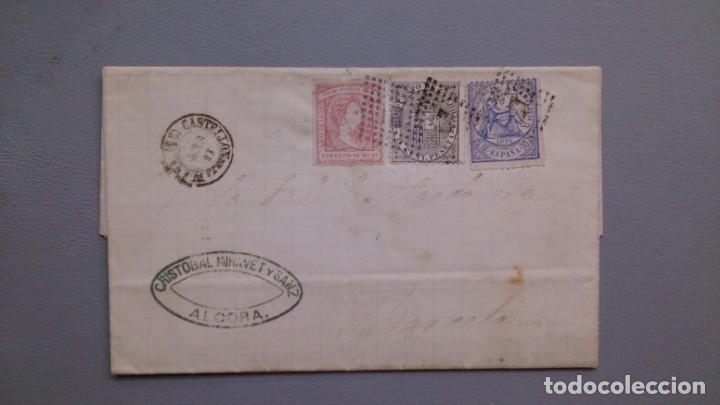 ESPAÑA - 1874 - CARTA COMPLETA ALCORA - BARCELONA - EDIFIL 141/145 Y 157 - MUY ALTO VALOR - RARA. (Sellos - España - Amadeo I y Primera República (1.870 a 1.874) - Cartas)
