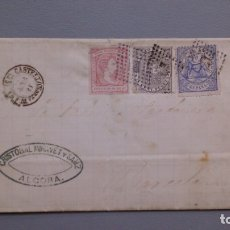 Sellos: ESPAÑA - 1874 - CARTA COMPLETA ALCORA - BARCELONA - EDIFIL 141/145 Y 157 - MUY ALTO VALOR - RARA.. Lote 175268455