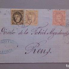 Sellos: ESPAÑA - 1871 - CARTA COMPLETA ALBACETE-REUS 1871 - EDIFIL 103 Y 2 EDIFIL 102 - VARIEDAD - LUJO.. Lote 175270400