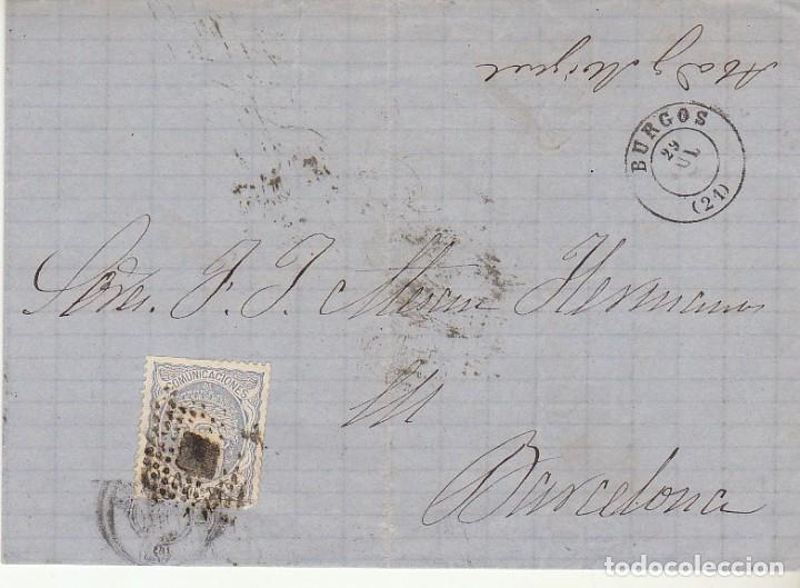 SELLO 107. BURGOS A BARCELONA.1871. (Sellos - España - Amadeo I y Primera República (1.870 a 1.874) - Cartas)