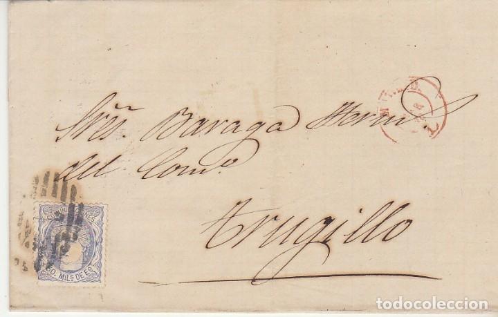 SELLO 107. MADRID A TRUJILLO. 1870. (Sellos - España - Amadeo I y Primera República (1.870 a 1.874) - Cartas)