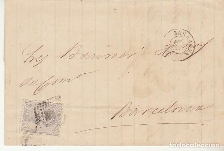 SELLO 122. ZARAGOZA A BARCELONA. 1872. (Sellos - España - Amadeo I y Primera República (1.870 a 1.874) - Cartas)