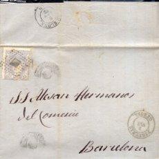 Sellos: AÑO 1870 EDIFIL 107 ISABEL II CARTA MATASELLOS ROMBO FIGUERA GERONA ERROR SIN AÑO . Lote 175447414
