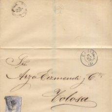 Sellos: AÑO 1870 EDIFIL 107 ALEGORIA ENVUELTA MATASELLOS ROMBO CADIZ A TOLOSA. Lote 175450985