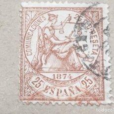 Sellos: EDIFIL 147 25 CTS ALEGORÍA JUSTICIA , DOBLE MATASELLOS ROJO Y NEGRO, EL DE LA FOTO, BONITO. Lote 175925532