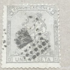 Selos: EDIFIL 138€ 1 PTA LILA , USADO PARRILLA ROMBO, DIENTE CORTO Y PEQUEÑA ROTURA, LEER TEXTO, CAT. 52€. Lote 175930807