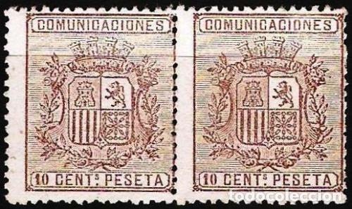 EDIFIL Nº 153* NUEVO 10C. CASTAÑO PAREJA ( 85 €) (Sellos - España - Amadeo I y Primera República (1.870 a 1.874) - Nuevos)