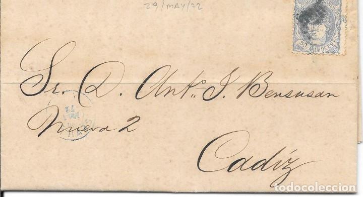 ANDALUCIA. EDIFIL 107. ENVUELTA CIRCULADA DE SEVILLA A CADIZ. 1872 (Sellos - España - Amadeo I y Primera República (1.870 a 1.874) - Cartas)
