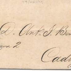 Selos: ANDALUCIA. EDIFIL 107. ENVUELTA CIRCULADA DE SEVILLA A CADIZ. 1872. Lote 177706467
