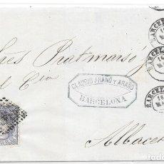 Sellos: ANDALUCIA. EDIFIL 107. ENVUELTA CIRCULADA DE BARCELONA A ALBACETE. 1872. Lote 177707363