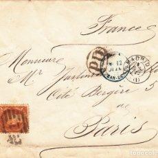 Sellos: CARTA CON SELLO NUM 113 CON FECHADOR DE MADRID Y DESTINO FRANCIA CON MATASELLOS FRANCESES 1872. Lote 178288467