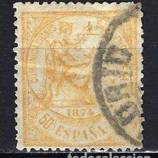 Sellos: ESPAÑA - 1874 - ALEGORÍA DE LA JUSTICIA - 50 C. - EDIFIL 149 - USADO - FECHADOR MADRID. Lote 179318426