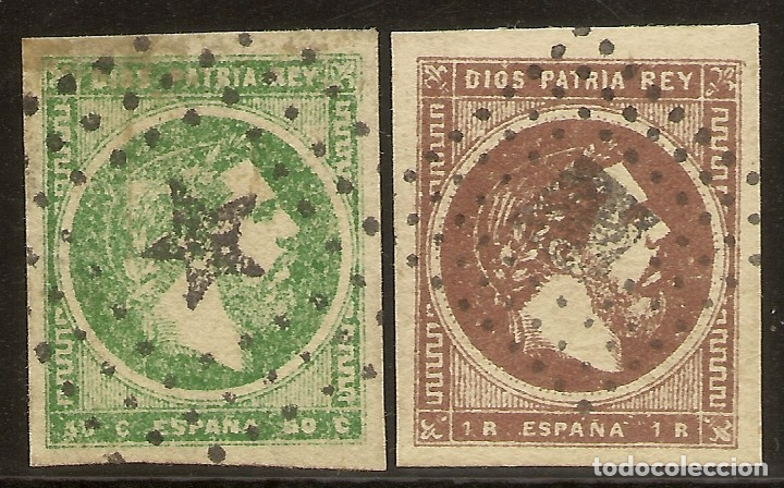 ESPAÑA EDIFIL 160/161 (º) SERIE COMPLETA CORREO CARLISTA 2 VALORES SELLOS CIRCULADOS CARLOS VII 18 (Sellos - España - Amadeo I y Primera República (1.870 a 1.874) - Usados)