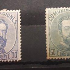 Sellos: ESPAÑA. 10 Y 50 CT AMADEO I. CATÁLOGO 161 €. Lote 181033382