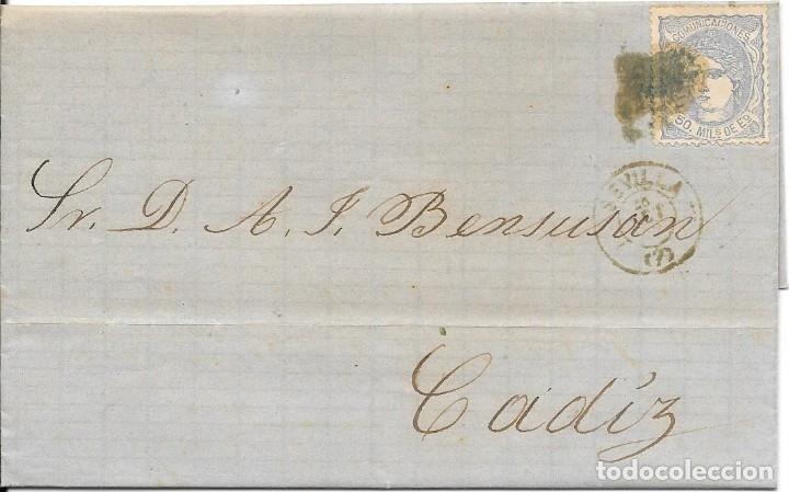 SEVILLA. EDIFIL Nº 107. ENVUELTA CIRCULADA DE SEVILLA A CADIZ 1872 (Sellos - España - Amadeo I y Primera República (1.870 a 1.874) - Cartas)