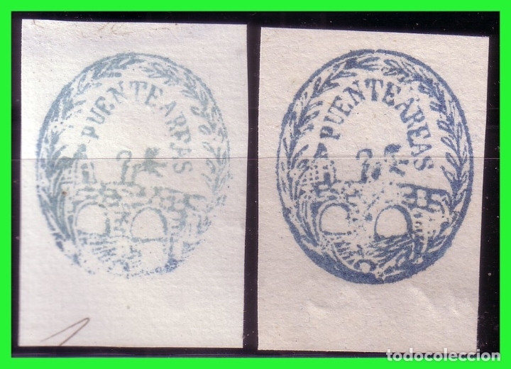 DOS MATASELLOS PUENTEÁREAS (Sellos - España - Amadeo I y Primera República (1.870 a 1.874) - Usados)