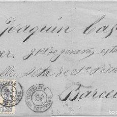 Sellos: MATRONA. EDIFIL 107. ENVUELTA CIRCULADA DE IGUALADA A BARCELONA. 1870. Lote 182713548