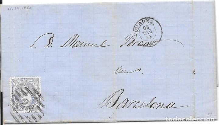 MATRONA. EDIFIL 107. ENVUELTA CIRCULADA DE GERONA A BARCELONA. 1870 (Sellos - España - Amadeo I y Primera República (1.870 a 1.874) - Cartas)