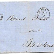 Sellos: MATRONA. EDIFIL 107. ENVUELTA CIRCULADA DE GERONA A BARCELONA. 1870. Lote 182714433