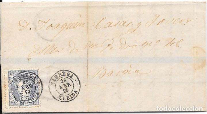 MATRONA. EDIFIL 107. ENVUELTA CIRCULADA DE TARREGA A BARCELONA. 1870 (Sellos - España - Amadeo I y Primera República (1.870 a 1.874) - Cartas)