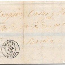 Sellos: MATRONA. EDIFIL 107. ENVUELTA CIRCULADA DE TARREGA A BARCELONA. 1870. Lote 182714896