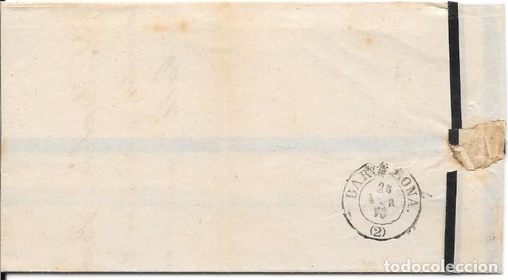 Sellos: MATRONA. EDIFIL 107. ENVUELTA CIRCULADA DE TARREGA A BARCELONA. 1870 - Foto 2 - 182714896