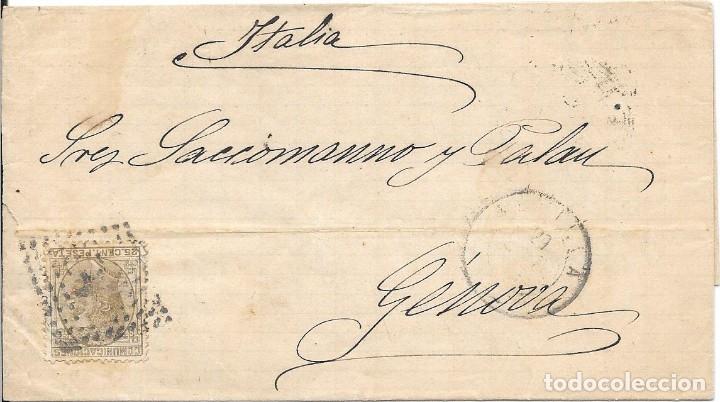 SEVILLA. EDIFIL194. ENVUELTA CIRCULADA DE SEVILLA A GENOVA - ITALIA. 1879 (Sellos - España - Amadeo I y Primera República (1.870 a 1.874) - Cartas)