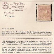 Sellos: FALSO POSTAL 10 CTS. 1874, EDIFIL Nº 153F TIPO II - CERTIFICADO GRAUS - MUY RARO. Lote 183098298