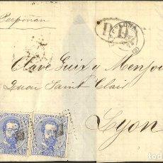 Sellos: ESPAÑA. AMADEO I. SOBRE 121(4). 1873. 10 CTS AZUL, CUATRO SELLOS. BARCELONA A LYON (FRANCIA). MATAS. Lote 183104455