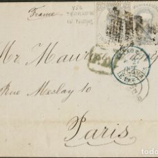 Sellos: ESPAÑA. AMADEO I. SOBRE 122(3). 1872. 12 CTS GRIS LILA, TRES SELLOS. BARCELONA A PARIS (FRANCIA). F. Lote 183135932