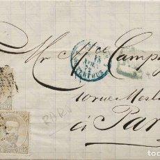 Sellos: ESPAÑA. AMADEO I. SOBRE 122(3). 1872. 12 CTS LILA GRIS, TIRA DE TRES. BARCELONA A PARIS (FRANCIA).. Lote 183139447